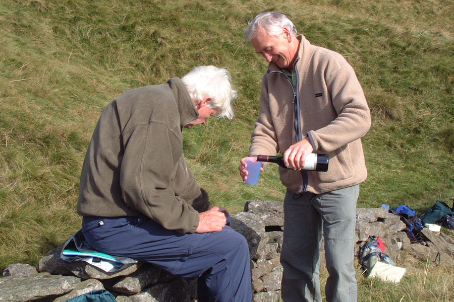 25 September 2002. Bob's Birthday, and a celebratory drink on the walk from Tan Hill to Keld.